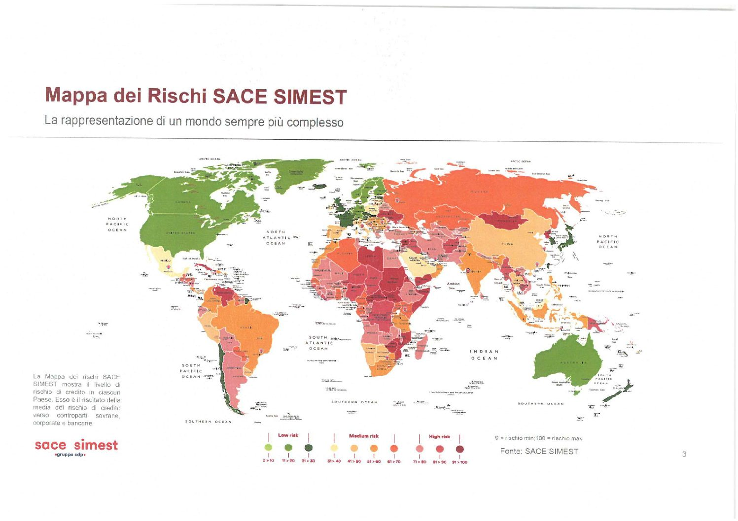 Economia mondiale 2019: la Risk Map secondo SACE